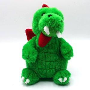 LEGO green Ollie red wings sitting dragon plush